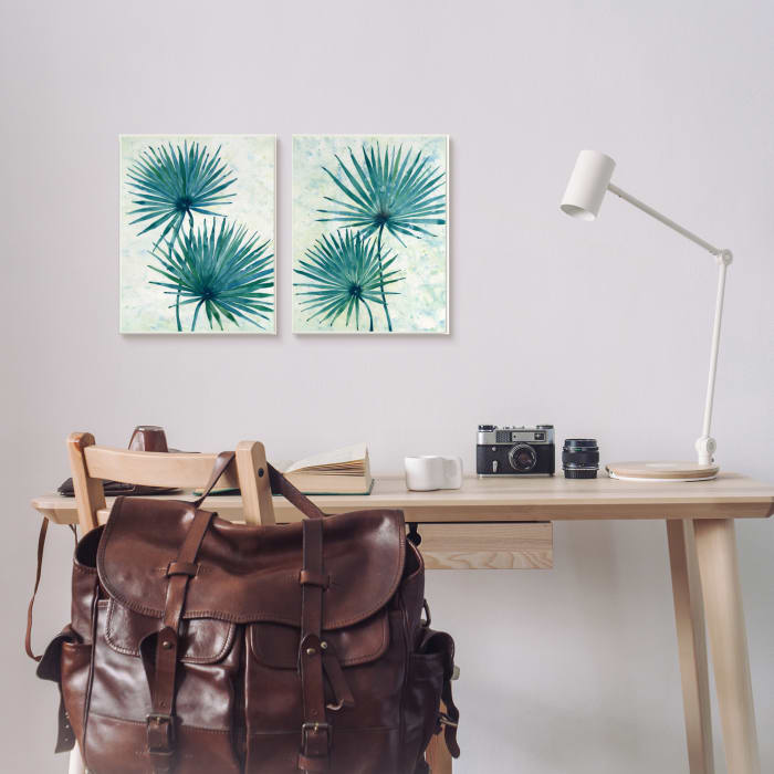 Abstract Palm Fans Blue Green Silhouettes 2pc Stretched Canvas Wall Art Set by Tim OToole 16 x 20