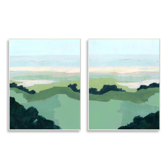 Hill Side Nautical Landscape Abstract Greenery 2pc Wall Plaque Art Set by Grace Popp 10 x 15