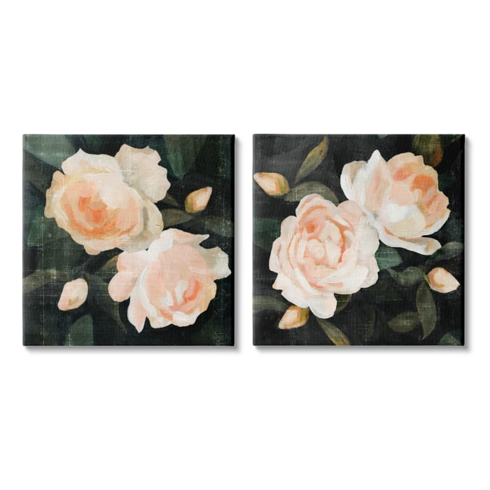 Soft Pink Rose Garden Abstract Flower Bush 2pc XL Stretched Canvas Wall Art Set by Emma Caroline 24 x 24