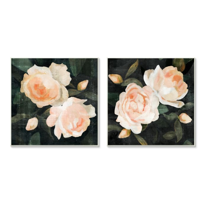 Soft Pink Rose Garden Abstract Flower Bush 2pc Wall Plaque Art Set by Emma Caroline 12 x 12