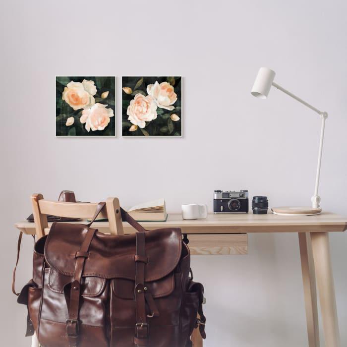 Soft Pink Rose Garden Abstract Flower Bush 2pc Wall Plaque Art Set by Emma Caroline 12 x 12