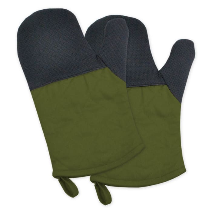Two-Toned Olive Heat Resistant Oven Mitt Set of 2