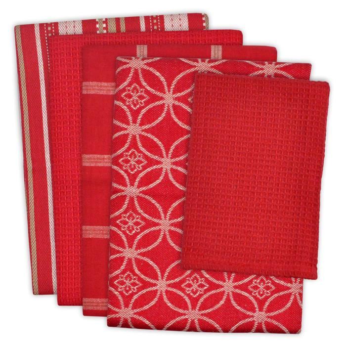Red Assorted Dishtowel & Dishcloth Set