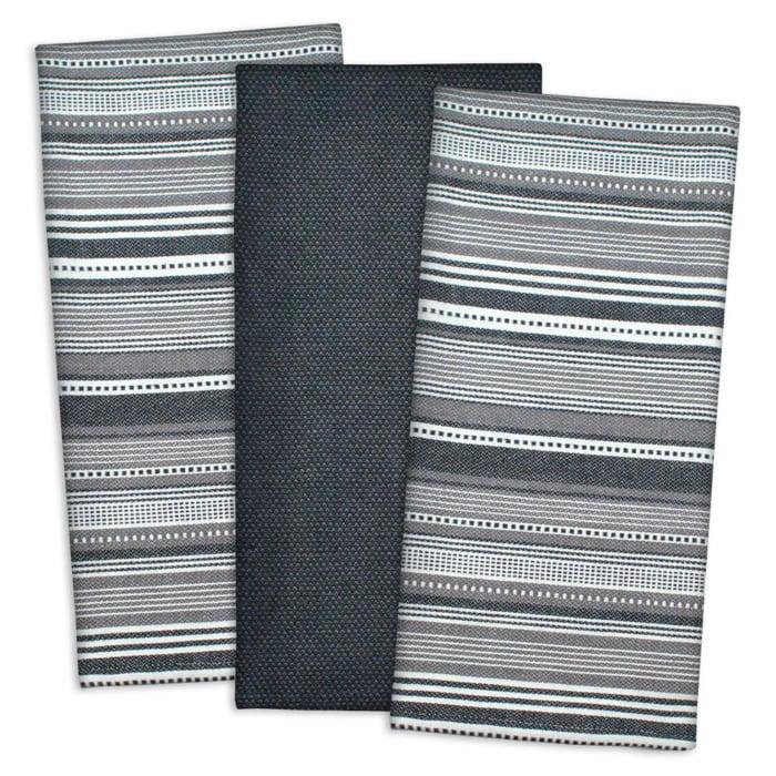 Black MultiStripe Dishtowel Set