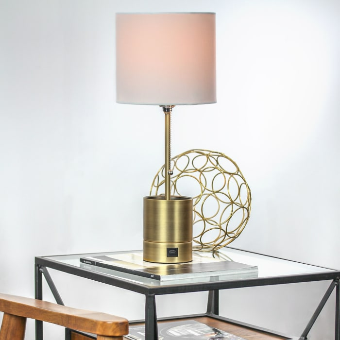 Brass Metal Table Lamp with Shade and USB Charger