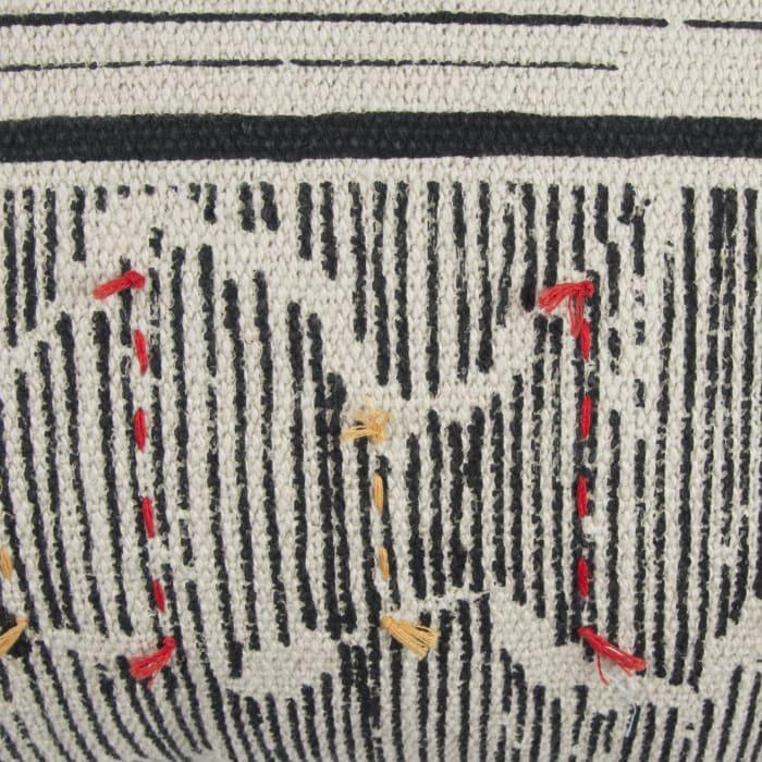 Boho Striped Black Throw Pillow