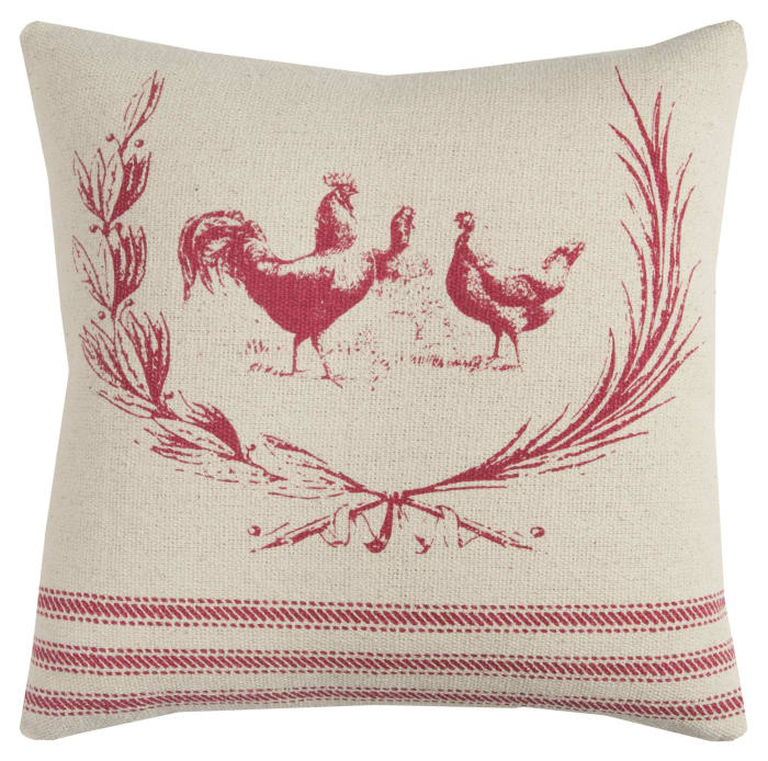 Country Rooster Red & Natural Pillow Cover