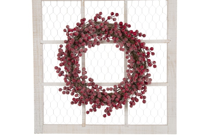 Red Berry Wreath with Rustic Wooden Frame
