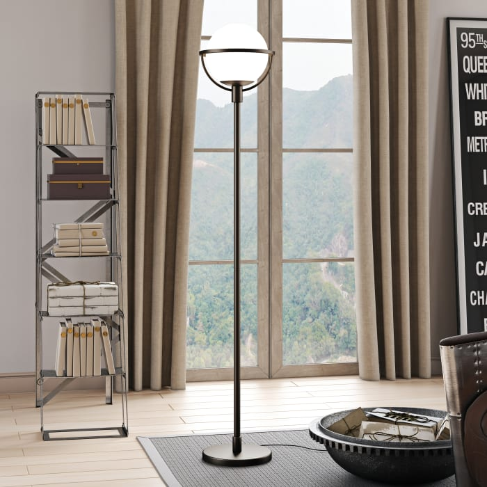 Cieonna Brass Globe & Stem Floor Lamp