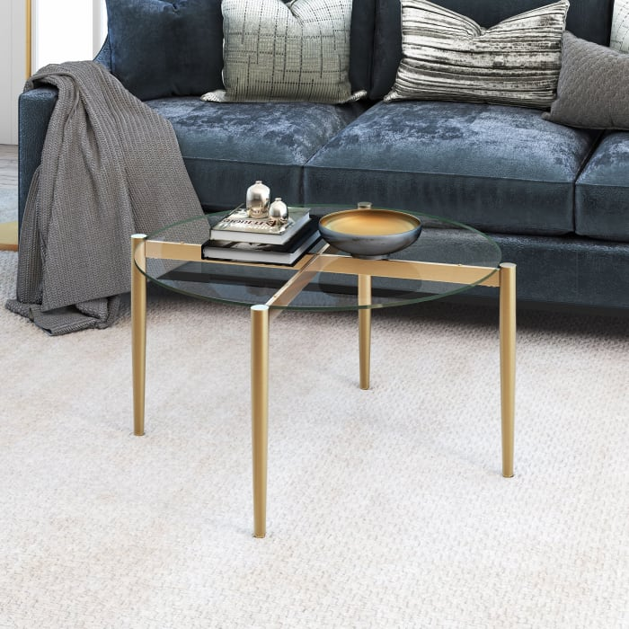 Gold Glass Top Round Coffee Table