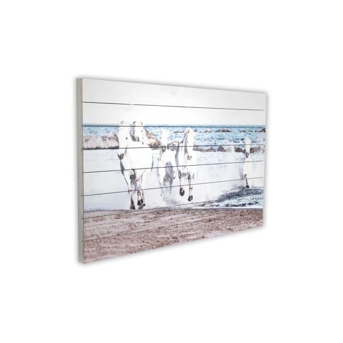 Horses Running Print on Wood