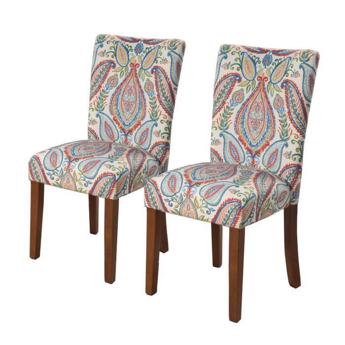 Multicolored Paisley Parson Dining Chair Set of 2