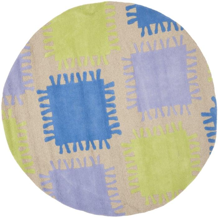 Blue Green & Purple Patch 6' Round Rug