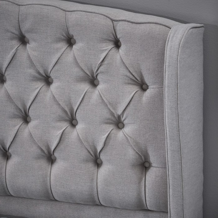 Light Gray Upholstered Queen Bed