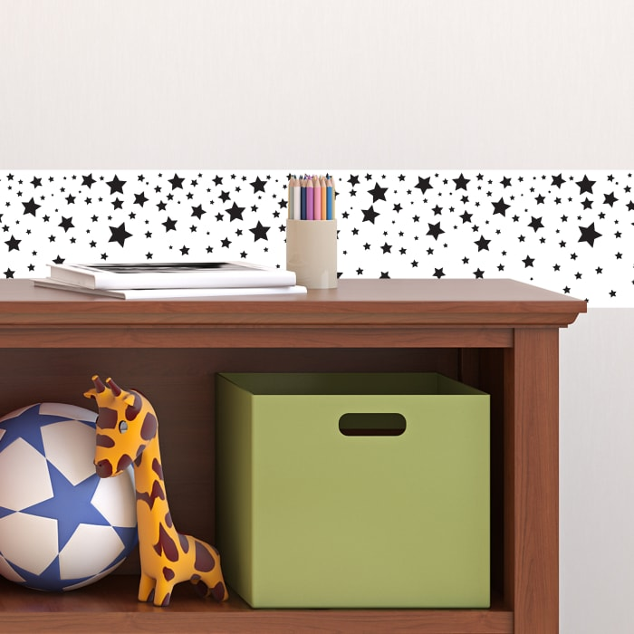White & Black Stars Self-Adhesive Borders Removable Wallpaper
