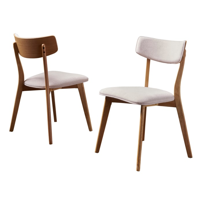 Light Beige Fabric Dining Chairs Set of 2