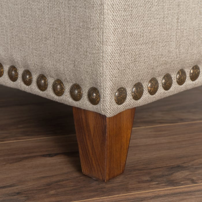 Ivory Fabric Storage Ottoman