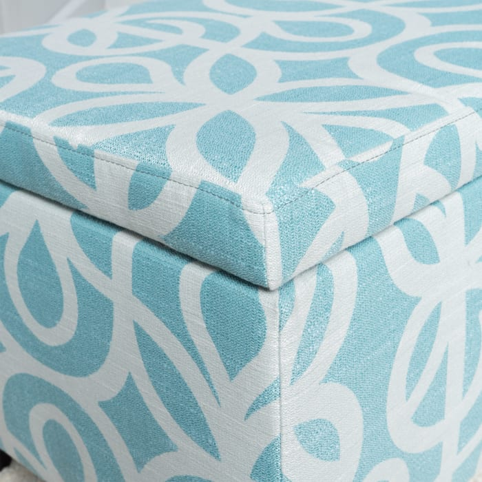 Light Blue Patterned Fabric Storage Ottoman