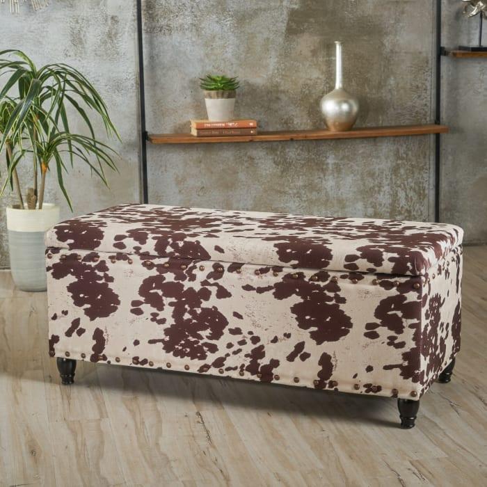 Cow Print Velvet Storage Ottoman