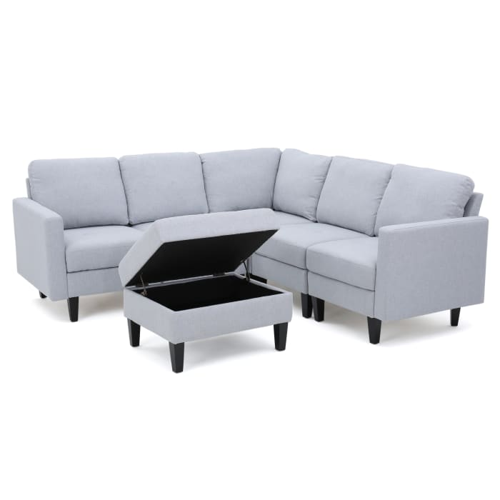 Light Gray Sectional with Storage Ottoman