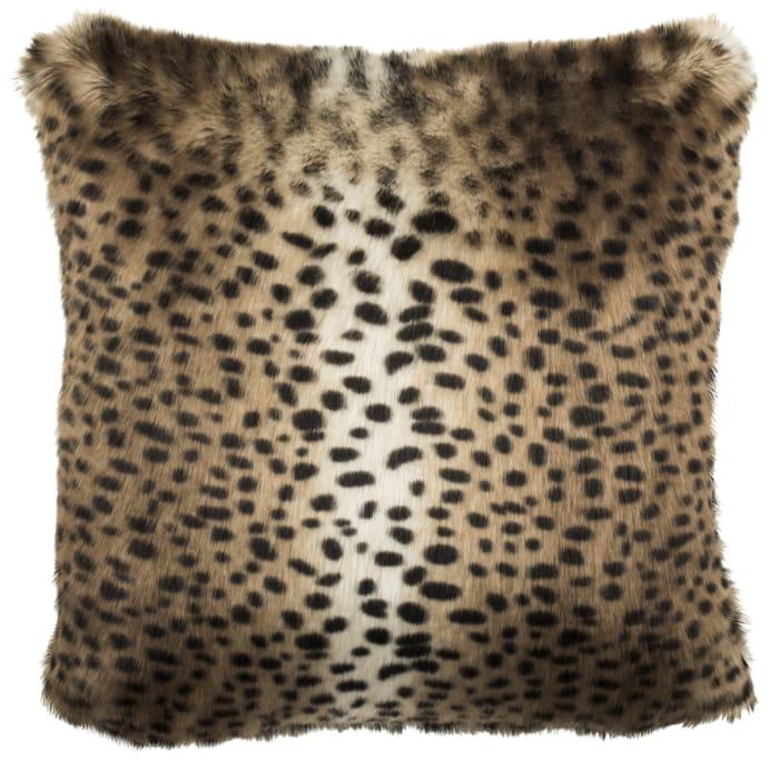 Faux Fur Leopard Brown Pillow