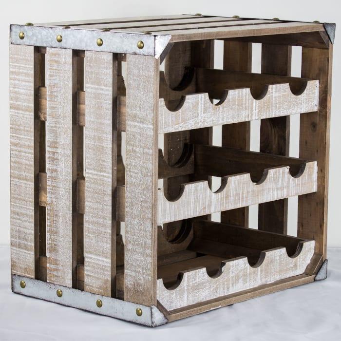 Vintage Farmhouse Crate 12 Bottle Wine Rack