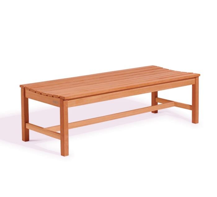 Brown 5' Slatted Wood Backless Garden Bench