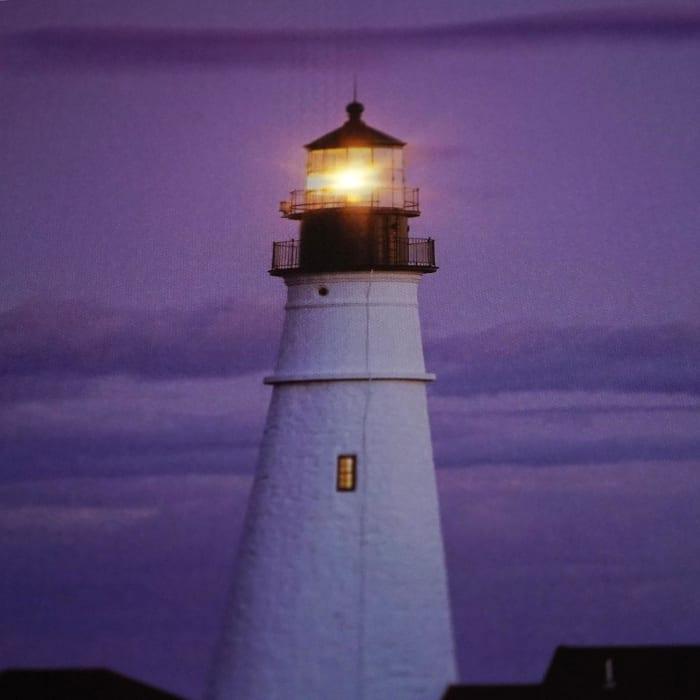 LED Light-Up Coastal Lighthouse Home with Purple Sunset Canvas Wall Art