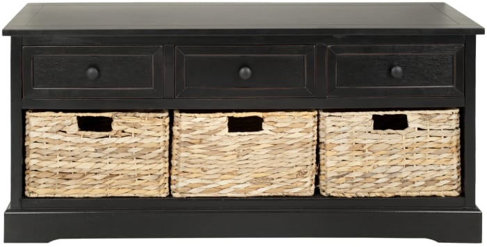 Wyatt Black 3-Drawer Storage Bench