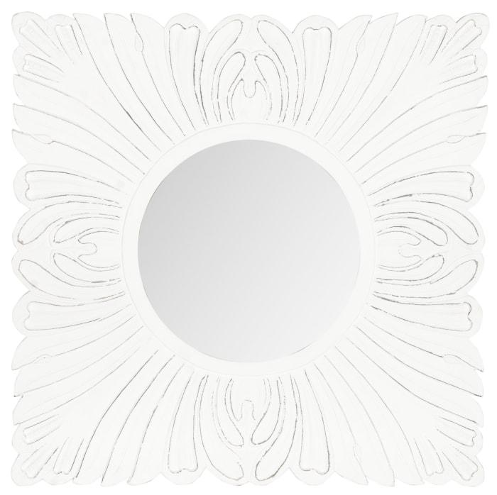 Danielle White Wood & Glass Mirror