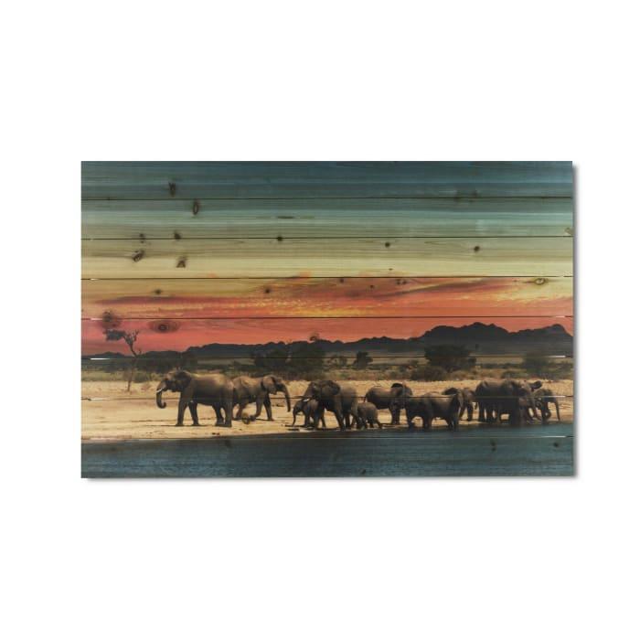 Elephant Herd Print on Wood