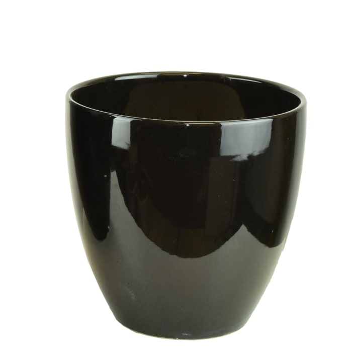 Tall Black Ceramic Pot