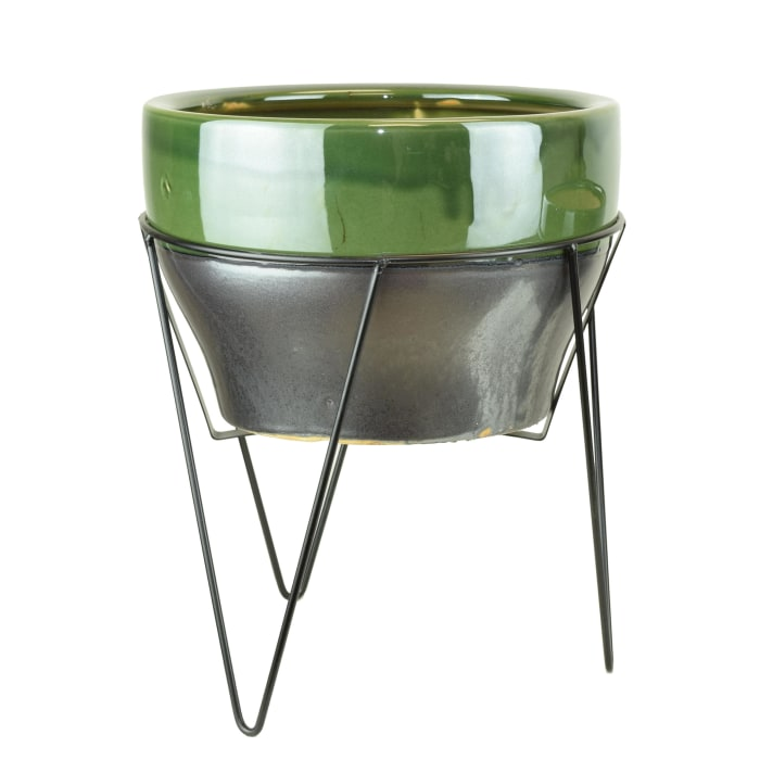 Green Ceramic Planter with Stand