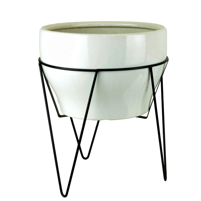 White Ceramic Planter with Stand