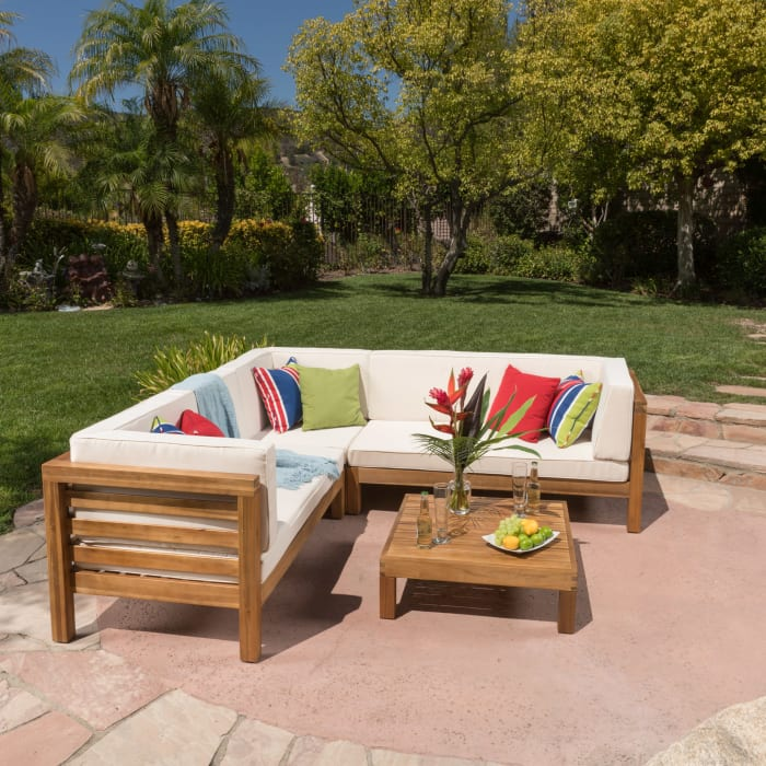 4-Piece Outdoor Sectional Set with Beige Cushions