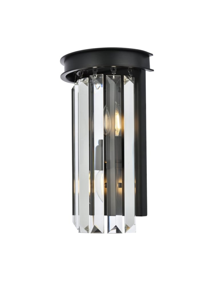 Matte Black Wall Sconce with Crystals