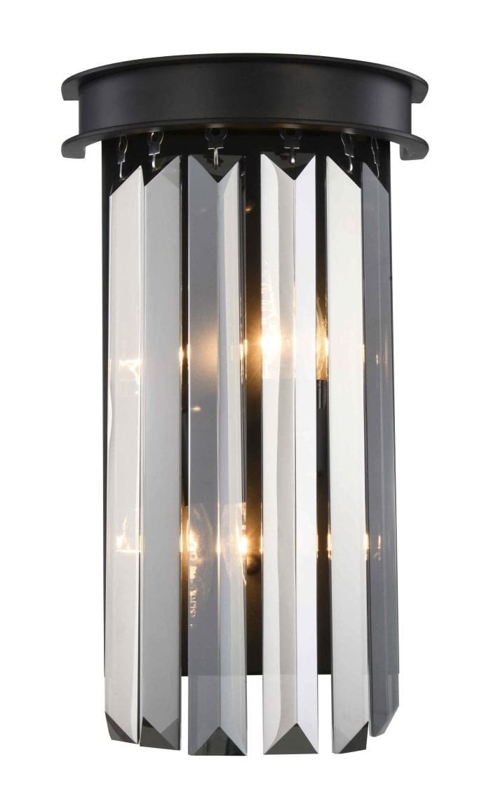 Matte Black Wall Sconce with Sliver Crystals