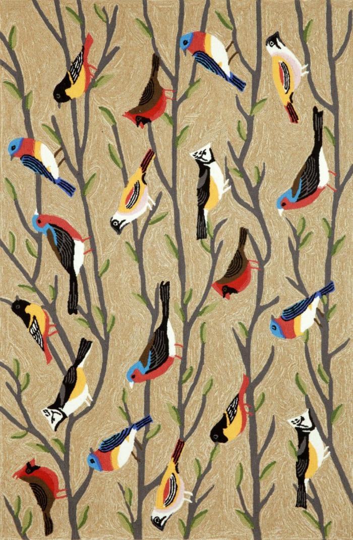 Birds Natural Rug 5' x 8'