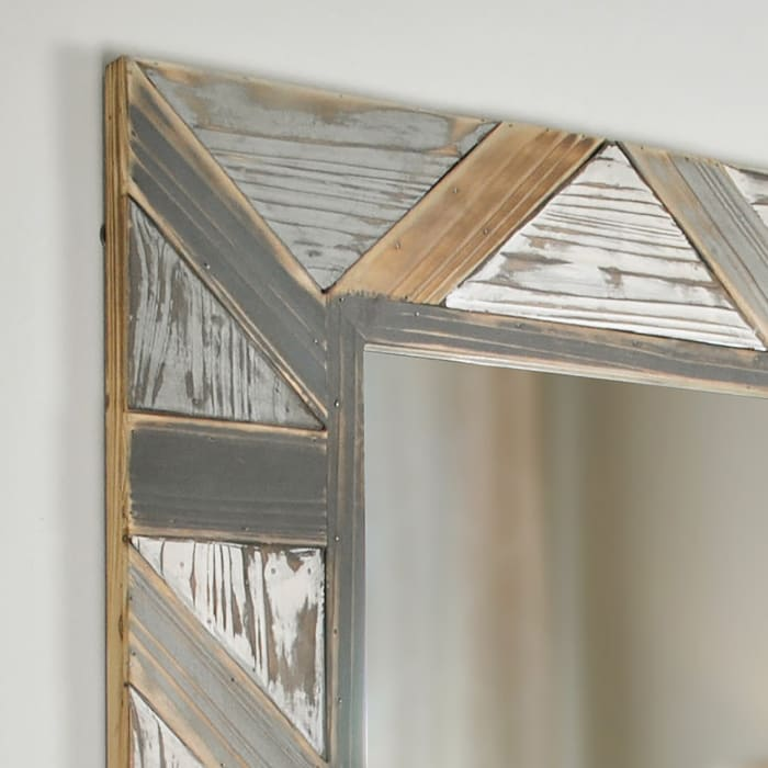 Salvaged Planks Distressed Gray Wall Mirror