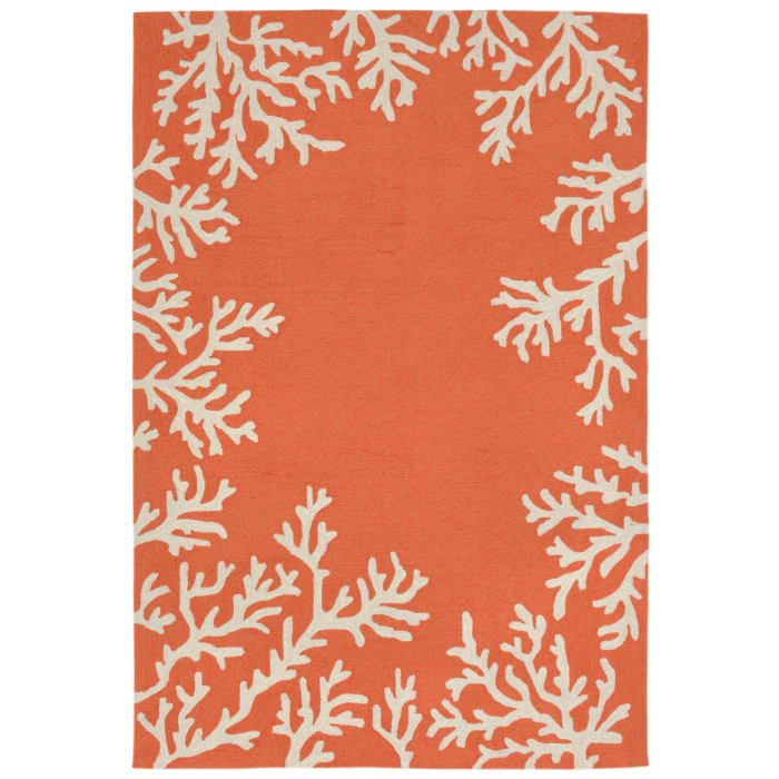 Coral Border Orange 5' x 8' Rug
