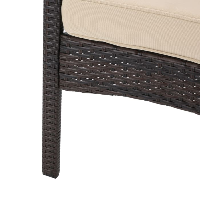 Puerta 4-Piece Brown Wicker Set with Cushions