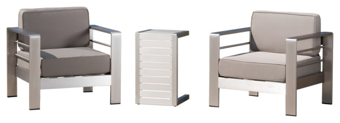Outdoor Aluminum Club Chairs with Side Table