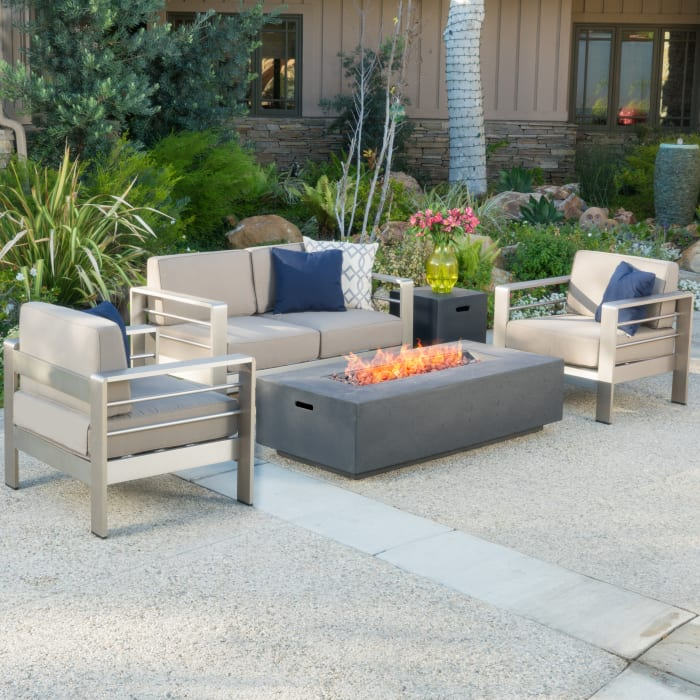 Chat Set with Dark Gray Fire Table
