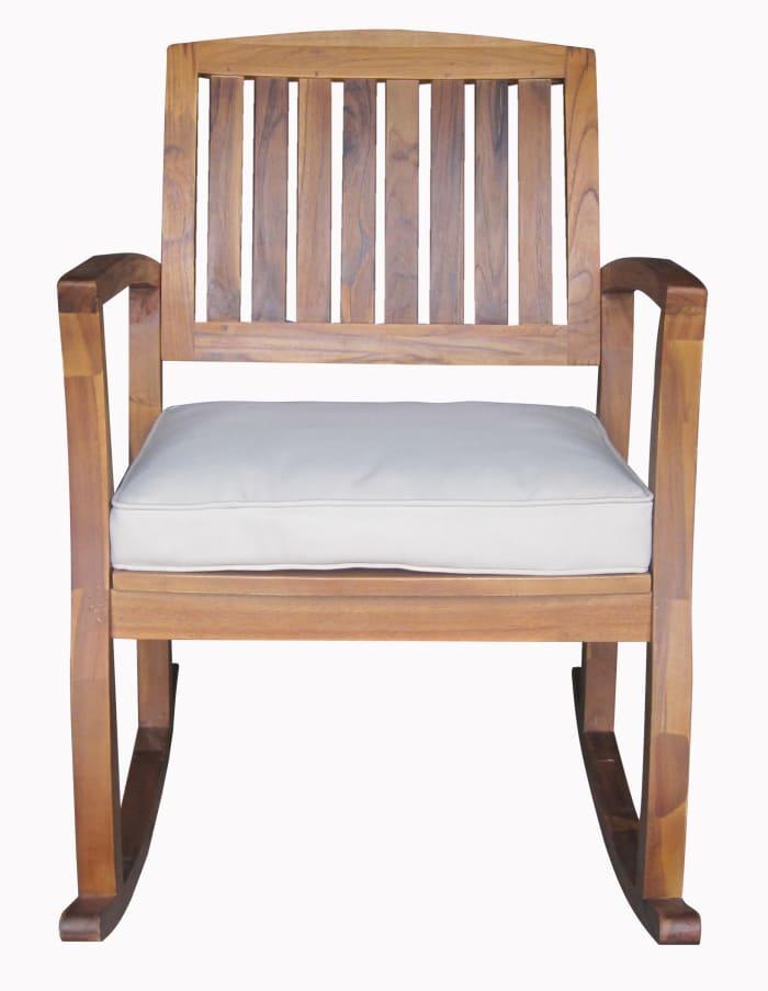 Teak Finish Acacia Rocking Chair with Cushion
