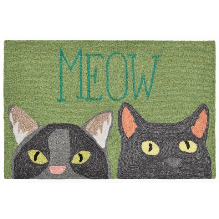 Green Meow  2' x 3' Rug