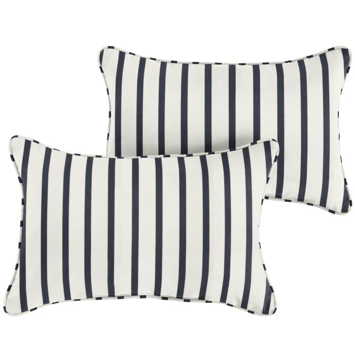 Sunbrella Corded in Lido Indigo Set of 2 Outdoor Pillow