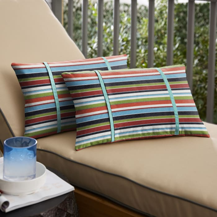 Sunbrella Dual Flange in Carousel Confetti with Canvas Aruba Outdoor Pillow