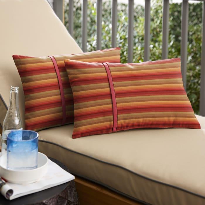 Sunbrella Dual Flange Set in Stripe and Crimson Outdoor Pillow
