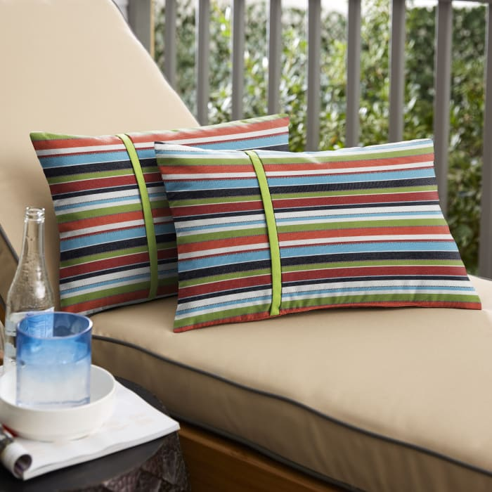 Sunbrella Flange Small in Confetti and Macaw Outdoor Pillow