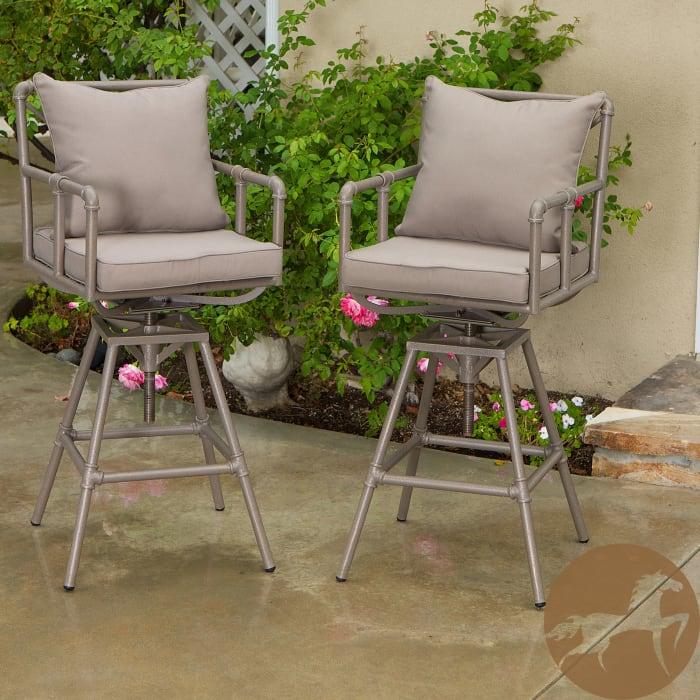 Pipe Adjustable Barstools Set of 2